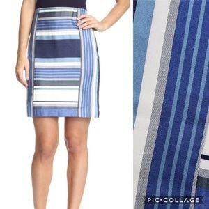 J. McLaughlin Blue Striped Martinique Skirt